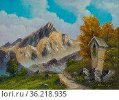 Gemälde in Ölfarben von einem Bildstock neben einem schmalen Weg in... Стоковое фото, фотограф Zoonar.com/Christian Länger / easy Fotostock / Фотобанк Лори