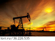 Oil pump jack on a oil field. Sunset sky background. Extraction of... Стоковое фото, фотограф Zoonar.com/BASHTA / easy Fotostock / Фотобанк Лори