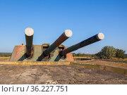 Triple gun of Armored battery 30. Soviet military unit. Стоковое фото, фотограф EugeneSergeev / Фотобанк Лори