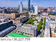 Panorama of Yekaterinburg city center. View from above. Russia. Стоковое фото, фотограф Евгений Ткачёв / Фотобанк Лори
