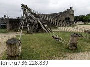 Baukran vor dem römischen Amphitheater, Archäologisches Freilichtmuseum... Стоковое фото, фотограф Zoonar.com/CGI / age Fotostock / Фотобанк Лори