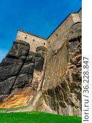 Aussenansicht auf die Mauer der Festung Königsstein auf dem Tafelberg... Стоковое фото, фотограф Zoonar.com/Karl Heinz Spremberg / age Fotostock / Фотобанк Лори