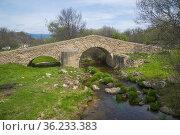 Canto bridge. Canencia, Madrid province, Spain. Стоковое фото, фотограф María Galán / age Fotostock / Фотобанк Лори