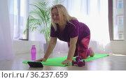 Fitness training - overweight woman watching the exercise program on her phone and repeating it. Стоковое видео, видеограф Константин Шишкин / Фотобанк Лори