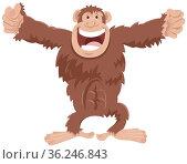 Cartoon illustration of funny chimpanzee ape comic animal character. Стоковое фото, фотограф Zoonar.com/Igor Zakowski / easy Fotostock / Фотобанк Лори