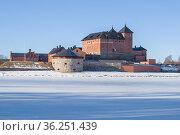 Старинная крепость Хямеенлинна мартовским утром. Финляндия (2019 год). Стоковое фото, фотограф Виктор Карасев / Фотобанк Лори