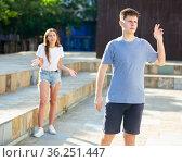A couple is having an arguement. Стоковое фото, фотограф Яков Филимонов / Фотобанк Лори
