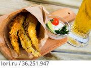 Fish Chips - fried tempura sardines. Стоковое фото, фотограф Яков Филимонов / Фотобанк Лори