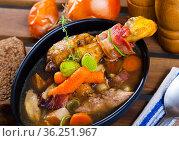 Chicken soup with bacon and vegetables. Стоковое фото, фотограф Яков Филимонов / Фотобанк Лори