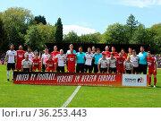 Die beiden Teams vor dem Anpfiff des SBFV-Pokal Finale 2017/18: FC... Стоковое фото, фотограф Zoonar.com/Joachim Hahne / age Fotostock / Фотобанк Лори
