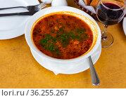 Georgian Kharcho soup with beef and rice. Стоковое фото, фотограф Яков Филимонов / Фотобанк Лори