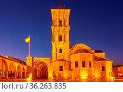 The Church of Saint Lazarus (Agios Lazaros) at night, Larnaca , Cyprus. Стоковое фото, фотограф Zoonar.com/Roman Sigaev / easy Fotostock / Фотобанк Лори