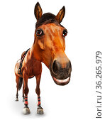 Cartoon like image of horse head and big smile. Стоковое фото, фотограф Сергей Новиков / Фотобанк Лори