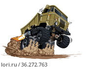 Cartoon 4x4 muscle truck isolated on white background. Стоковая иллюстрация, иллюстратор Александр Володин / Фотобанк Лори