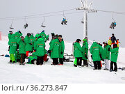 Die grüne Flotte der Helfer steht am Seebuck bereit. FIS Weltcup ... Стоковое фото, фотограф Zoonar.com/Joachim Hahne / age Fotostock / Фотобанк Лори