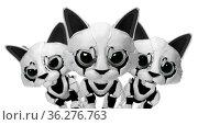 Robotic kitten face trio, 3d illustration, horizontal, over white... Стоковое фото, фотограф Zoonar.com/Viktors Ignatenko / easy Fotostock / Фотобанк Лори