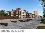Magnificent new square on Gorky street, improvement of the historical center of the city. Russia, Krasnoyarsk, June 9, 2021. Редакционное фото, фотограф ok_fotoday / Фотобанк Лори