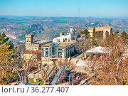 View of San Marino city from above, Respublic of San Marino. Landscape... Стоковое фото, фотограф Zoonar.com/Roman Sigaev / easy Fotostock / Фотобанк Лори
