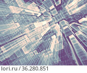 Geometric technology background - abstract computer-generated image... Стоковое фото, фотограф Zoonar.com/Olga Gavrilenko / easy Fotostock / Фотобанк Лори