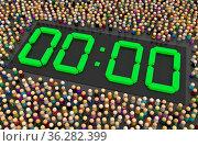 Crowd of small symbolic figures, digital timer zero count, 3d illustration... Стоковое фото, фотограф Zoonar.com/Viktors Ignatenko / easy Fotostock / Фотобанк Лори