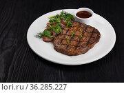 Grilled black angus steak. Стоковое фото, фотограф Jan Jack Russo Media / Фотобанк Лори