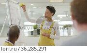 Caucasian businesswoman giving presentation to her diverse colleagues in office. Стоковое видео, агентство Wavebreak Media / Фотобанк Лори