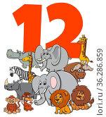 Cartoon Illustration of Number Twelve for Children with Funny Animal... Стоковое фото, фотограф Zoonar.com/Igor Zakowski / easy Fotostock / Фотобанк Лори