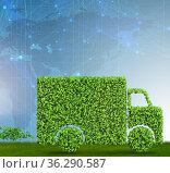 Delivery van powered by biofuel - 3d rendering. Стоковое фото, фотограф Elnur / Фотобанк Лори