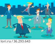 Cartoon illustration of men or businessmen people comic characters... Стоковое фото, фотограф Zoonar.com/Igor Zakowski / easy Fotostock / Фотобанк Лори