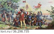 Italian explorer Christopher Columbus and his crew land at San Salvador... Стоковое фото, фотограф Classic Vision / age Fotostock / Фотобанк Лори