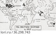 Map of the British Empire in 1815. From A Short History of the World... Стоковое фото, фотограф Classic Vision / age Fotostock / Фотобанк Лори