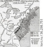 Map of the United Staes showing extent of settlement in 1790. From... Стоковое фото, фотограф Classic Vision / age Fotostock / Фотобанк Лори