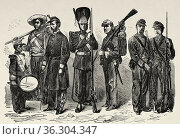 Peruvian, Bolivian and Chilean soldiers of the 19th century, South... Редакционное фото, фотограф Jerónimo Alba / age Fotostock / Фотобанк Лори