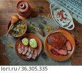 Scandinavian cuisine. Traditional assorted Scandinavian dishes, Top... Стоковое фото, фотограф Zoonar.com/MYCHKO / easy Fotostock / Фотобанк Лори