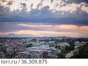 Panarama of Manavgat city, Turkey at sunset. View from the observation deck. Стоковое фото, фотограф Tetiana Chugunova / Фотобанк Лори