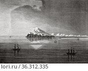 Bering Strait. Eastern Cape, Alaska. USA, Old 19th century engraved... Редакционное фото, фотограф Jerónimo Alba / age Fotostock / Фотобанк Лори
