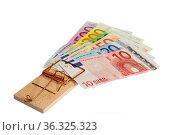 Mausefalle mit Banknoten freigestellt auf weissem Hintergrund Money... Стоковое фото, фотограф Zoonar.com/Birgit Reitz-Hofmann / easy Fotostock / Фотобанк Лори