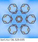 A set of bars in a pattern from work site photo. Geometric kaleidoscope... Стоковое фото, фотограф Zoonar.com/Jason C. Finn / easy Fotostock / Фотобанк Лори