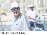 King Felipe VI of Spain onboard of Aifos 500 during the 39th Copa... Редакционное фото, фотограф ©MANUEL CEDRON / age Fotostock / Фотобанк Лори