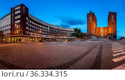 OSLO, NORWAY - June 11, 2014: Panorama of Oslo City Hall. The construction... Стоковое фото, фотограф Zoonar.com/Andrey Omelyanchuk / age Fotostock / Фотобанк Лори