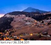 Aerial View of Selva Val Gardena in the Evening, Val Gardena, Dolomites... Стоковое фото, фотограф Zoonar.com/Andrey Omelyanchuk / age Fotostock / Фотобанк Лори