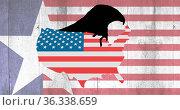 Image of usa map coloured in american flag over american flag. Стоковое фото, агентство Wavebreak Media / Фотобанк Лори