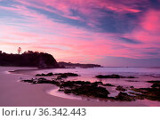A beautiful sunset on Glasshouse Beach near Narooma, NSW, Australia. Стоковое фото, фотограф Zoonar.com/Chris Putnam / easy Fotostock / Фотобанк Лори