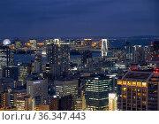 The night view of northern Tokyo Bay with the Rainbow Bridge. Minato city. Tokyo. Japan (2019 год). Редакционное фото, фотограф Serg Zastavkin / Фотобанк Лори