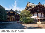 Haiden (Main hall) and Sanshuden (Assembly hall) of Yasukuni Shrine in Chiyoda, Tokyo. Japan (2019 год). Стоковое фото, фотограф Serg Zastavkin / Фотобанк Лори