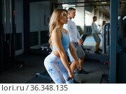 Couple on exercise machines, fitness training. Стоковое фото, фотограф Tryapitsyn Sergiy / Фотобанк Лори