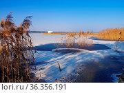 Schwimmender Steg, Lausitzer Seenland - Floating bridge in winter... Стоковое фото, фотограф Zoonar.com/LIANEM / easy Fotostock / Фотобанк Лори