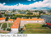 Vilnius, Lithuania. Modern City And Part Of Old Town. Behind New Arsenal... Стоковое фото, фотограф Ryhor Bruyeu / easy Fotostock / Фотобанк Лори