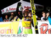Dawid Kubacki (Polen /POL) bejubelt seinen Sieg beim FIS Sommer Grand... Стоковое фото, фотограф Zoonar.com/Joachim Hahne / age Fotostock / Фотобанк Лори
