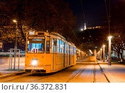 BUDAPEST, HUNGARY - FEBRUARY 22, 2016: Night view of the tram in Budapest... Стоковое фото, фотограф Zoonar.com/Yury Dmitrienko / easy Fotostock / Фотобанк Лори